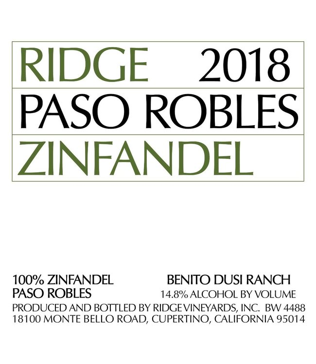 Ridge Vineyards Zinfandel 'Paso Robles' (2019)