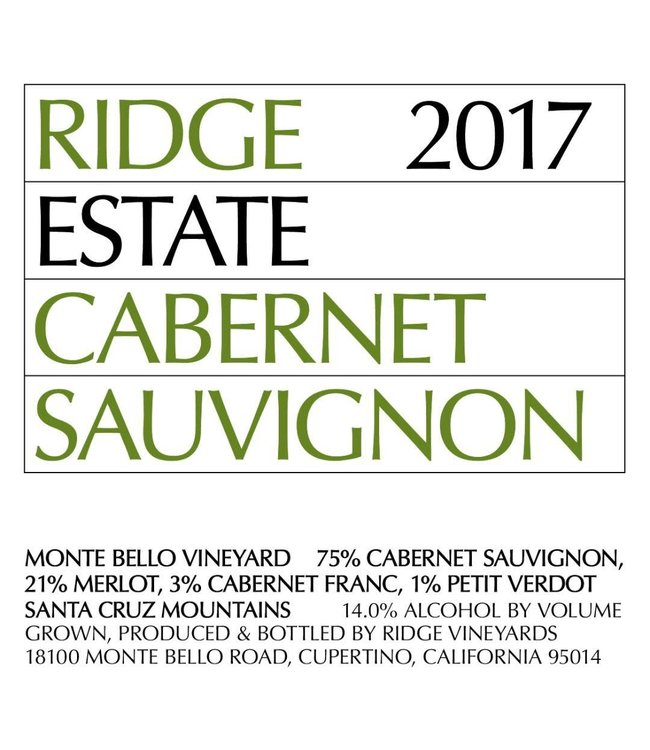 Ridge Vineyards Cabernet Sauvignon 'Estate' (2017) 375ml