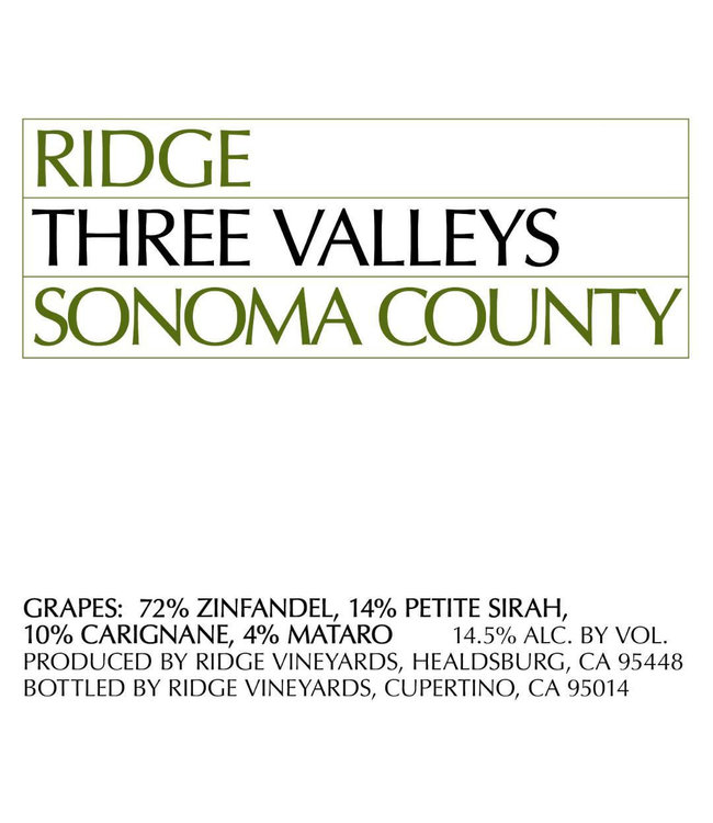 Ridge Vineyards 'Three Valleys' (2019)