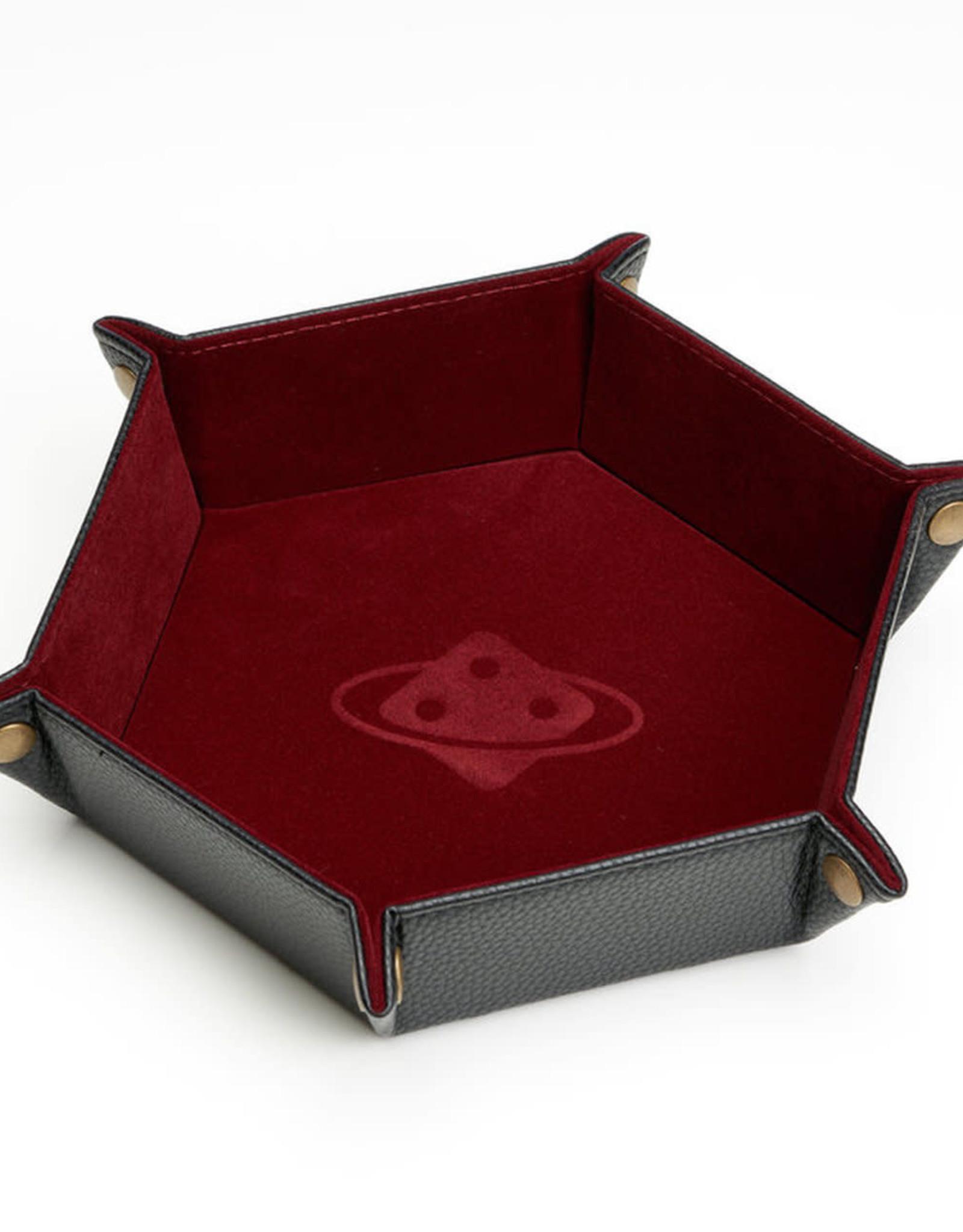 Dice Tray: Hexagon, Folding - Burgundy, Brass Buttons
