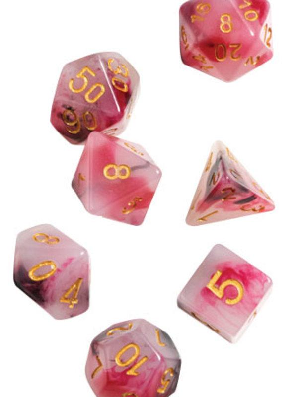 RPG Dice Set (7): Pink, Black, Red Marble