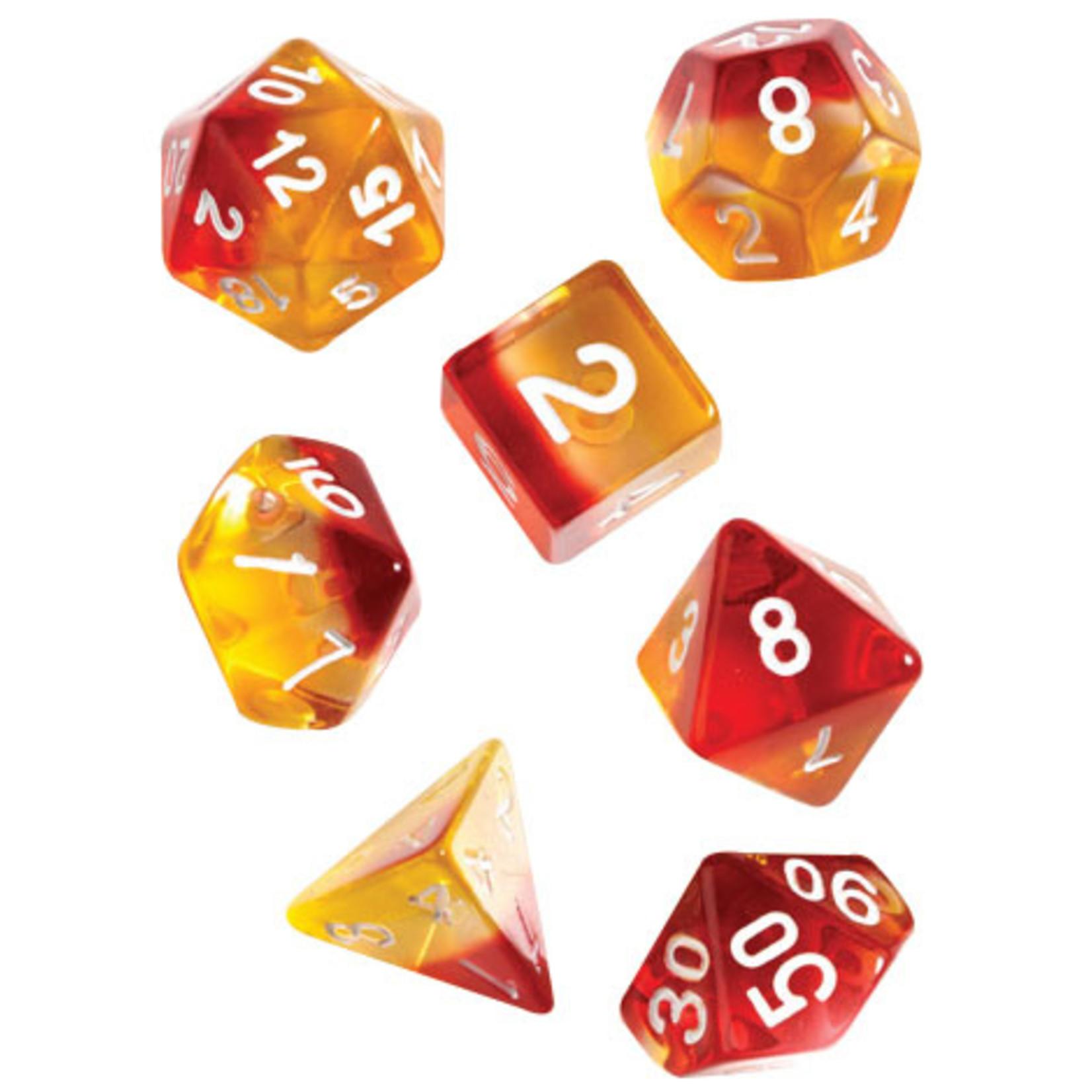 RPG Dice Set (7): Yellow, Red Translucent