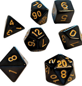 RPG Dice Set (7): Solid Black, Gold Ink