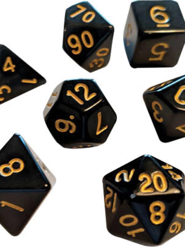 RPG Dice Set (7): Solid Black, Gold Ink