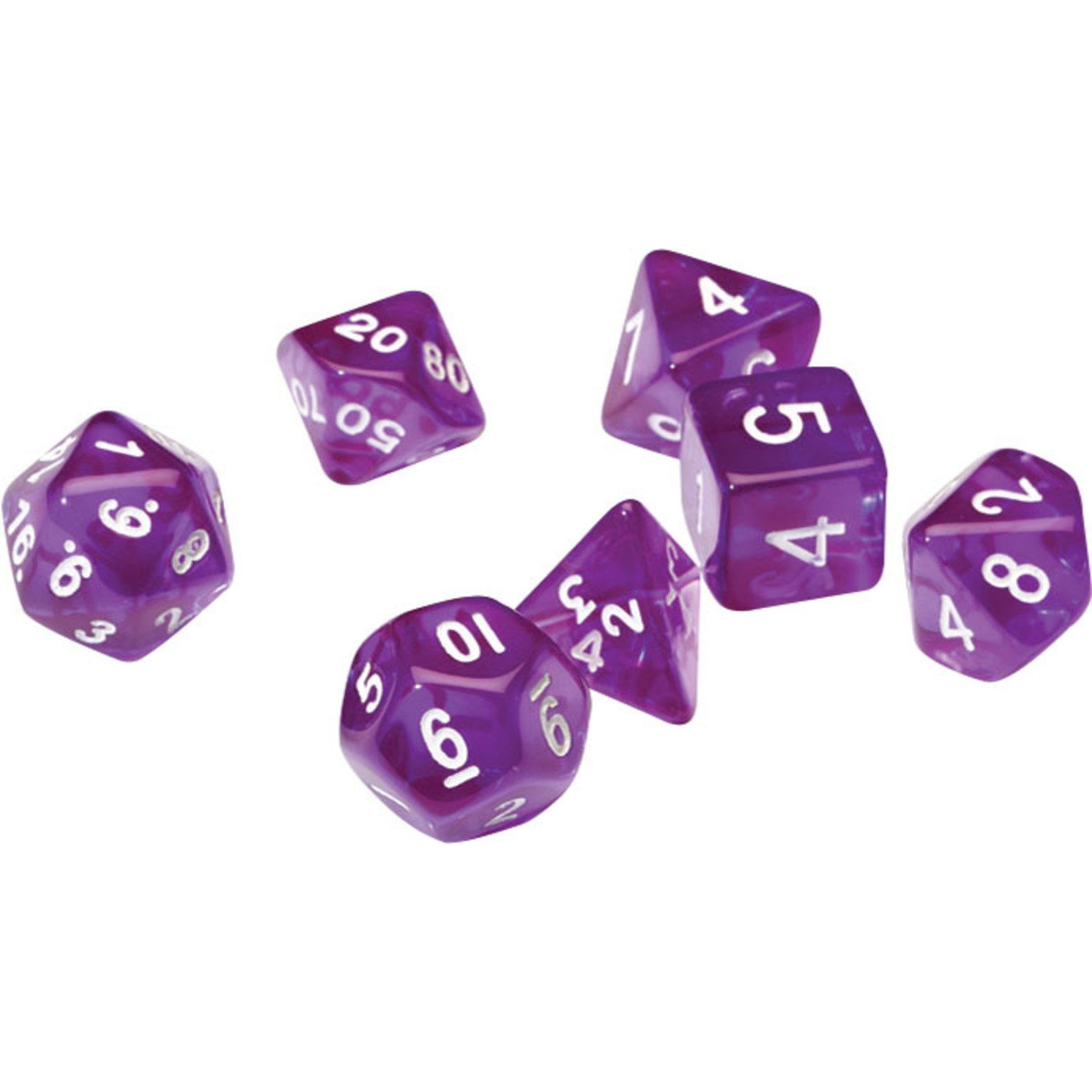 RPG Dice Set (7): Translucent Purple Resin