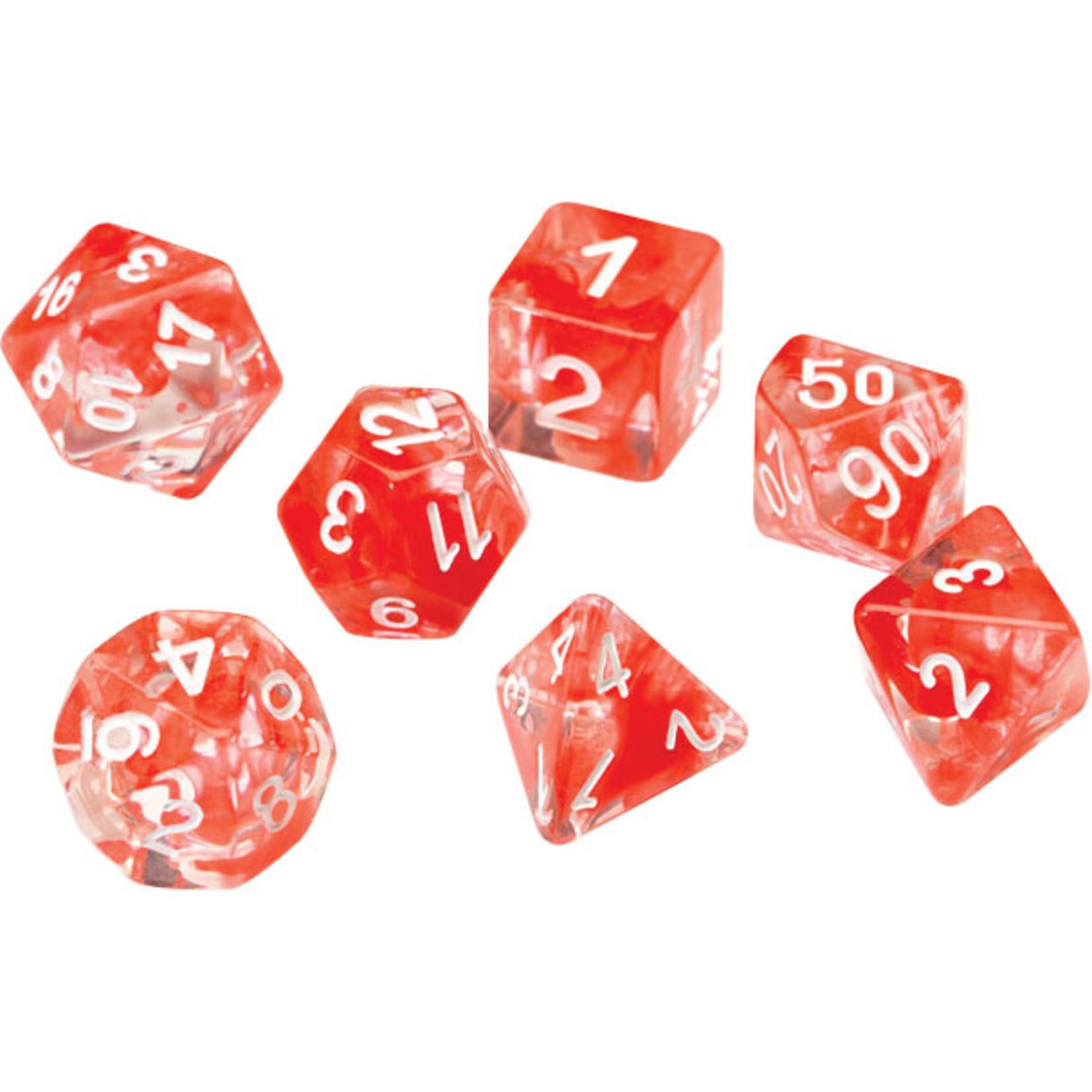 RPG Dice Set (7): Red Cloud Transparent Resin