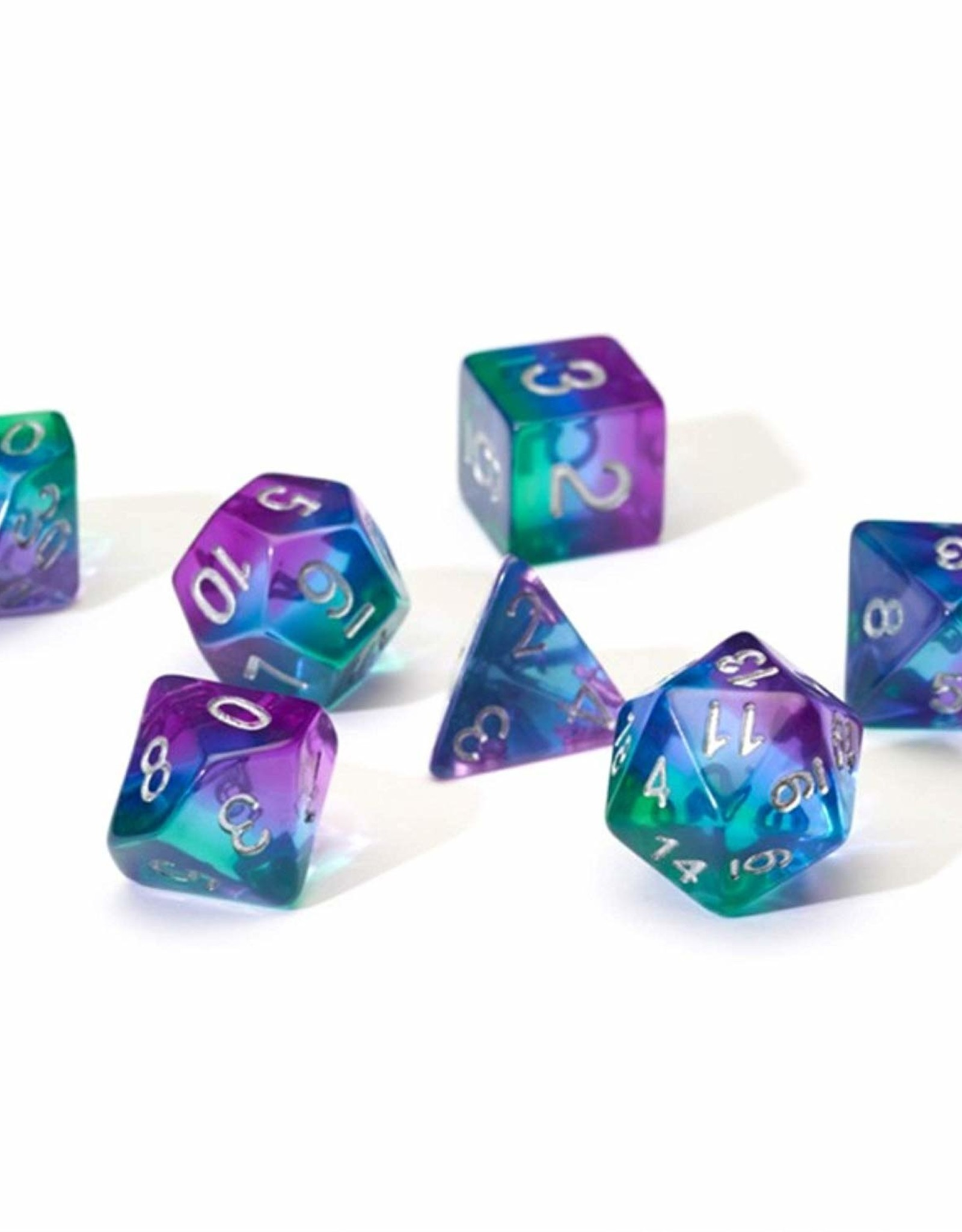 RPG Dice Set (7): Blue Aurora Semi- Transparent Resin