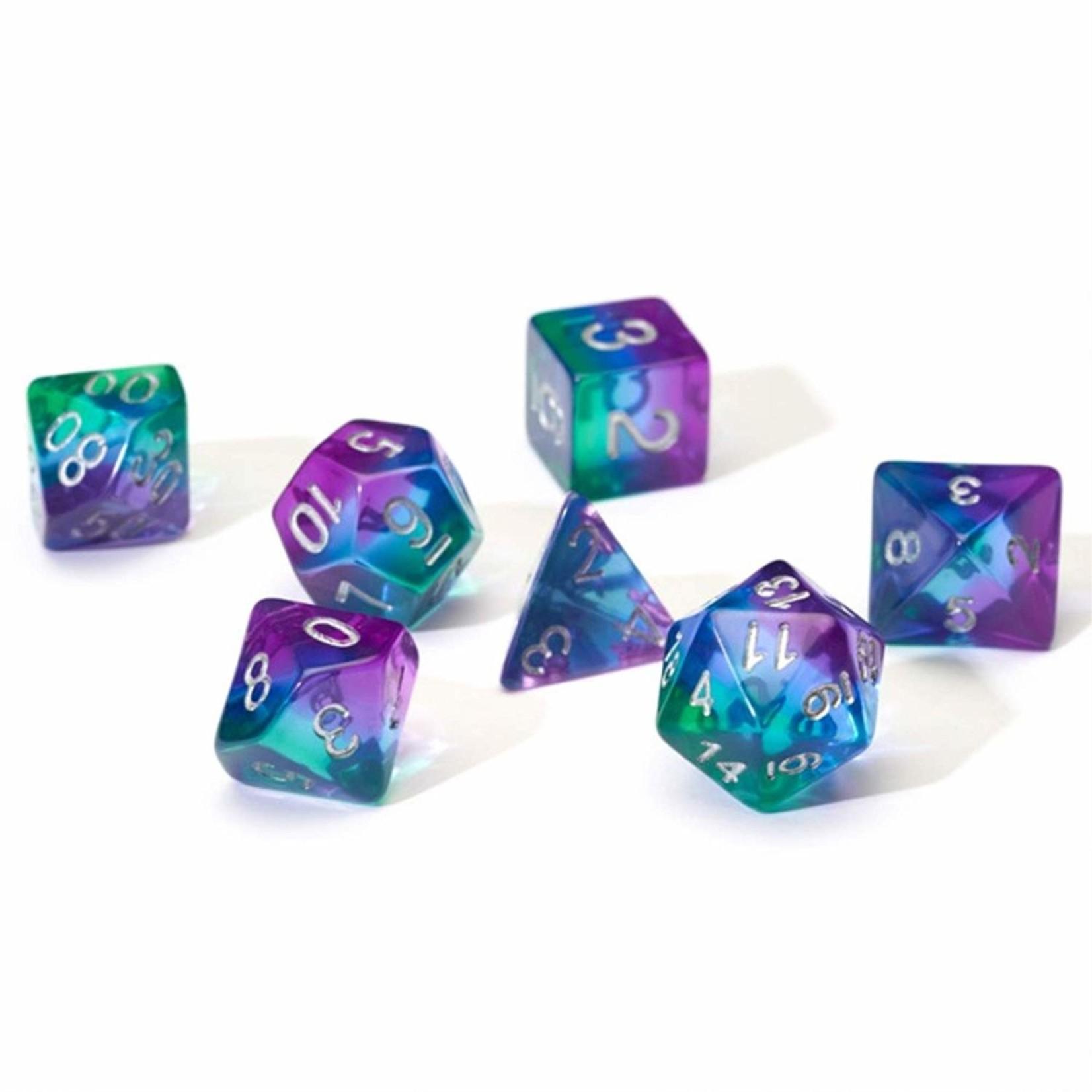 RPG Dice Set (7): Blue Aurora Semi- Transparent Resin