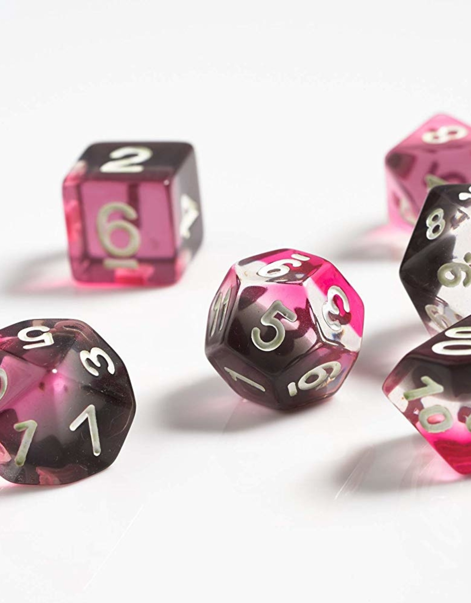 RPG Dice Set (7): Pink ,Clear, Black Resin