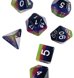 RPG Dice Set (7): Pink, Green, Blue