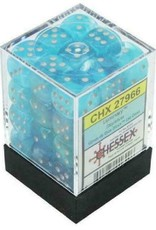 Dice Menagerie 10: 12mm D6 luminary Poly Sky/Silver (36)