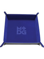 Blue Velvet Folding Dice Tray with Leather Backing