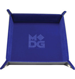 Velvet Folding Dice Tray with Leather Backing: 10in x 10in Blue