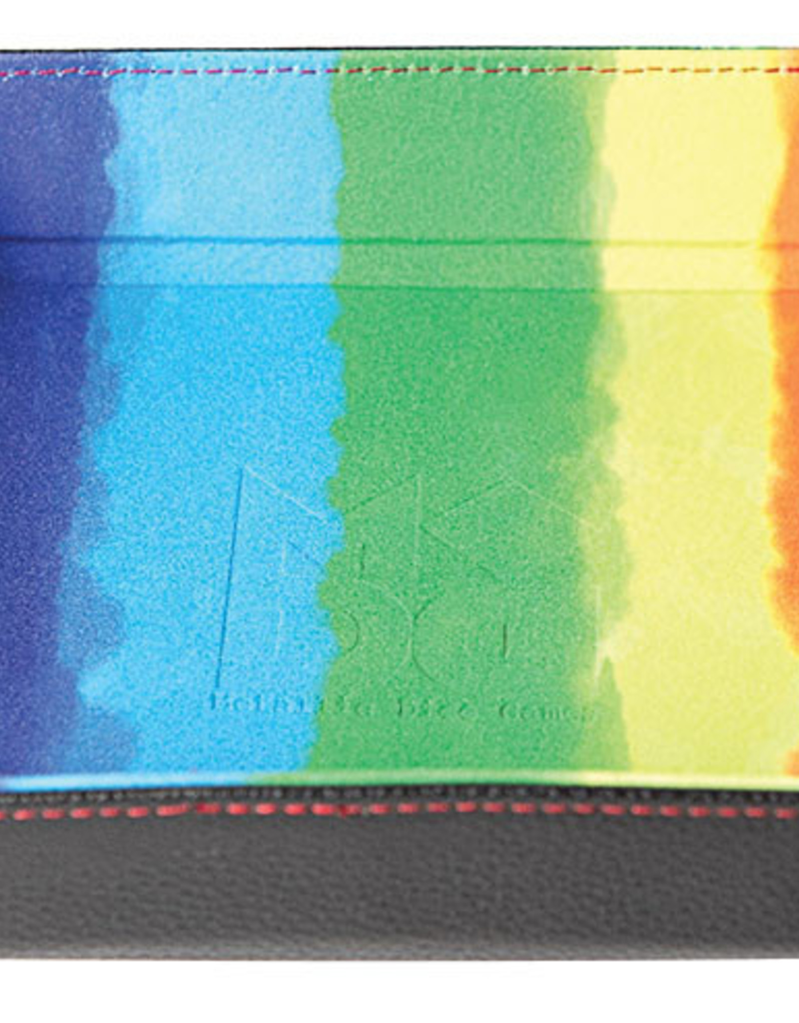 Velvet Folding Dice Tray with Leather Backing: 10` x 10` Watercolor Rainbow