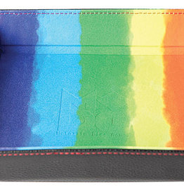 Watercolor Rainbow Velvet Folding Dice Tray with Leather Backing