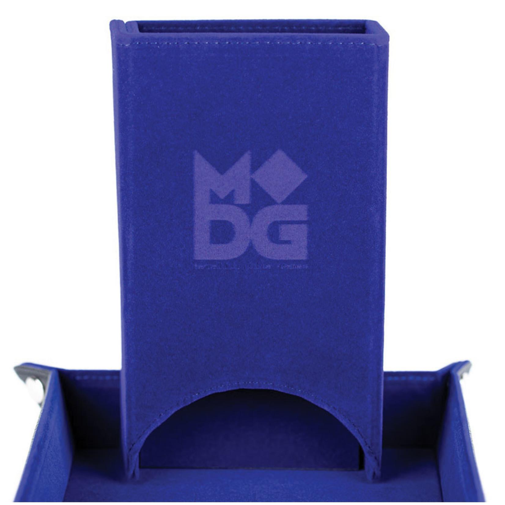 Fold Up Velvet Dice Tower: Blue