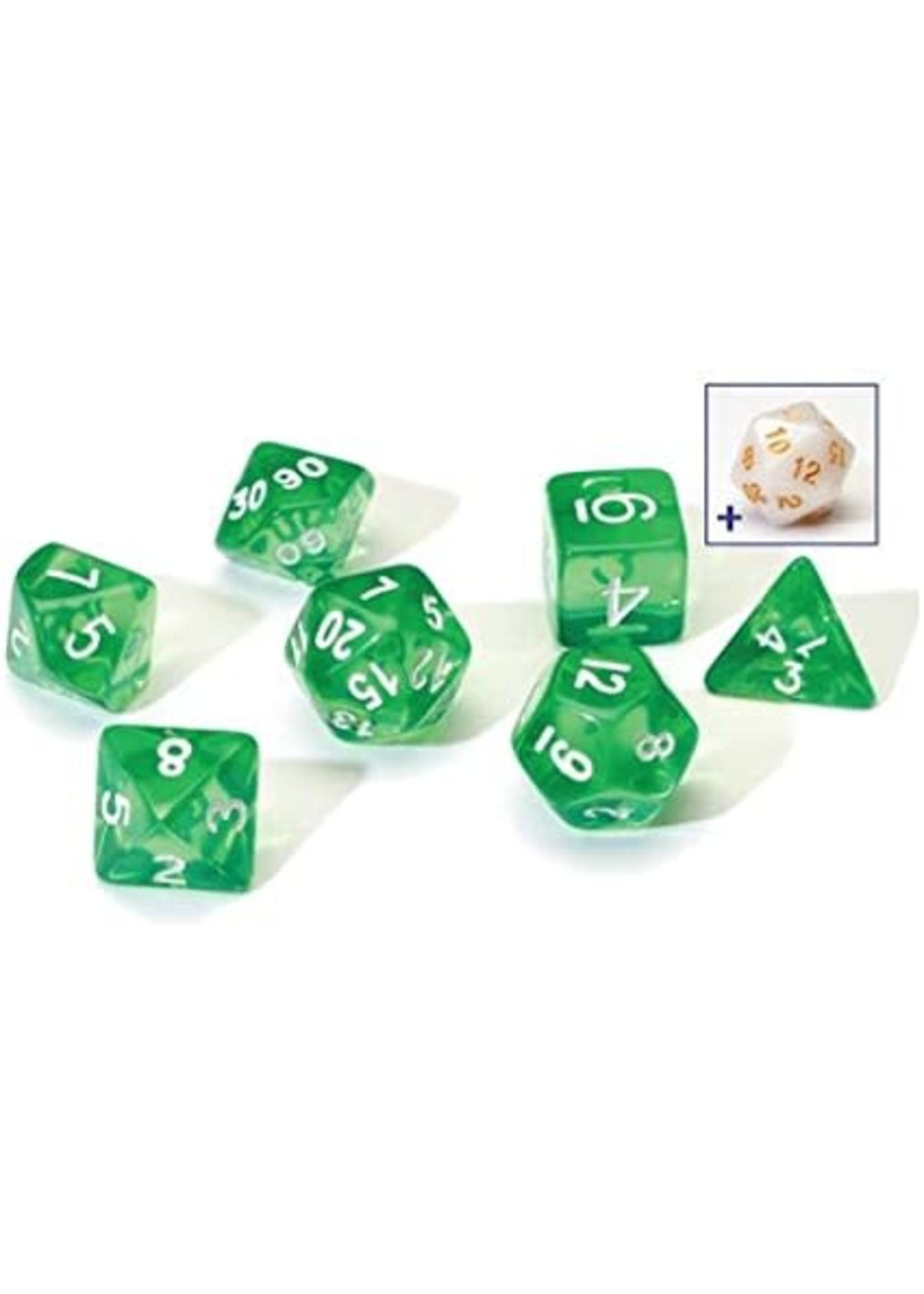RPG Dice Set (7): Translucent Green Resin