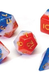 RPG Dice Set (7): Red, White, and Blue Semi- Transparent Resin