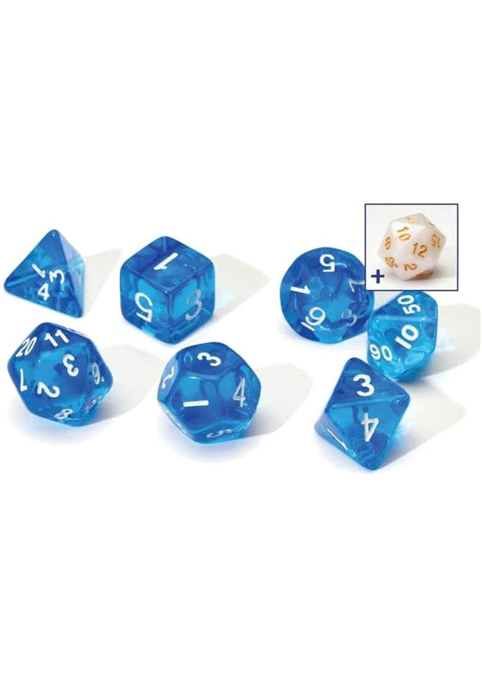 RPG Dice Set (7): Translucent Blue Resin