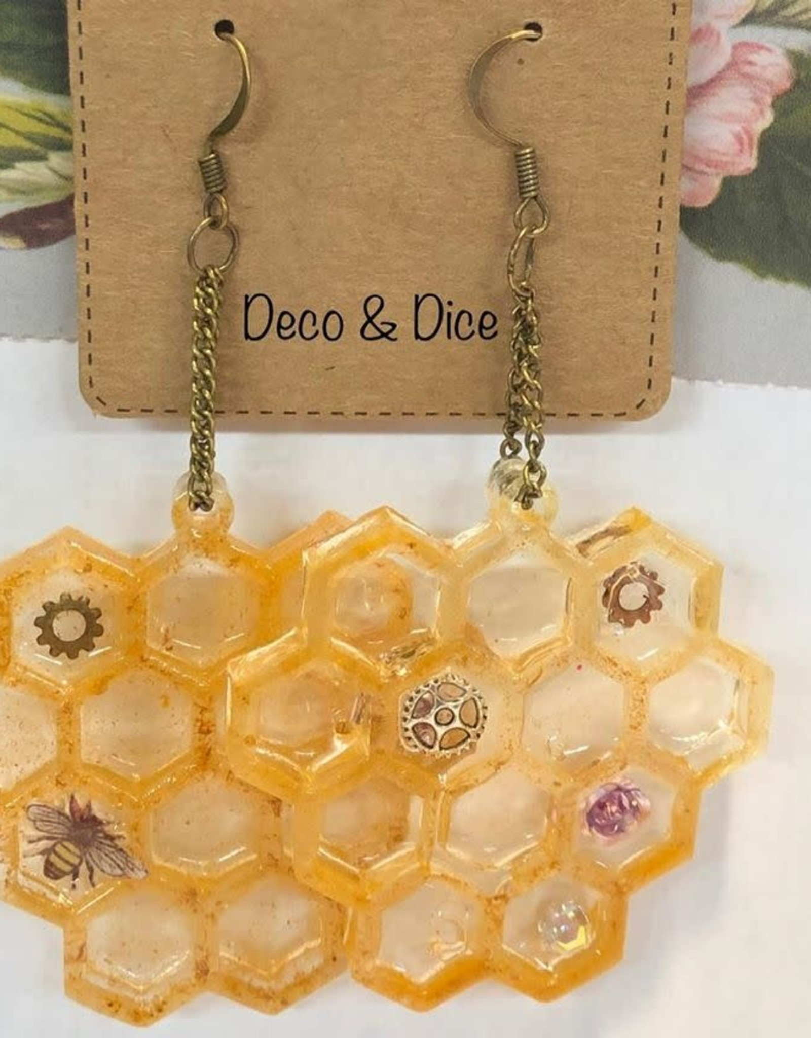 Deco and Dice Honeycomb Earrings