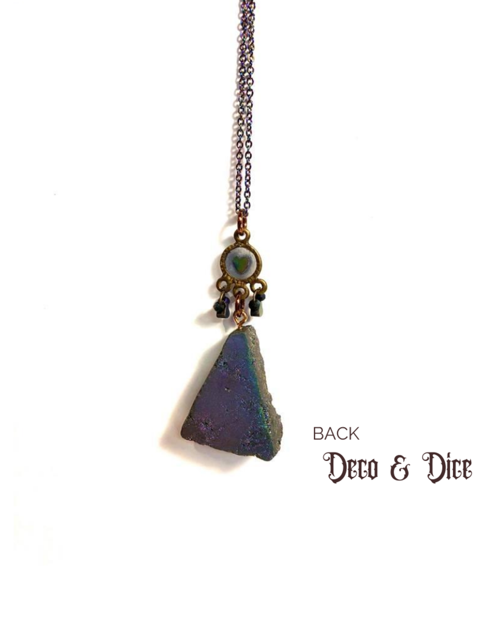Deco and Dice Druzy Dark Rainbow Necklace