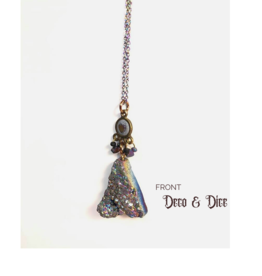 Deco and Dice Druzy Dark Rainbow Necklace