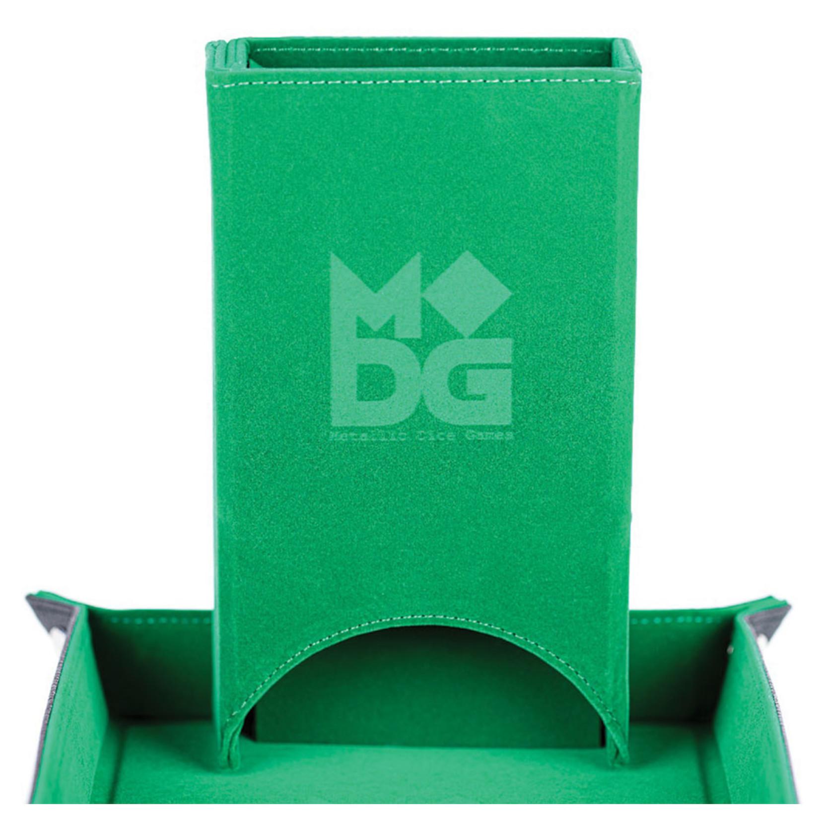 Fold Up Velvet Dice Tower: Green
