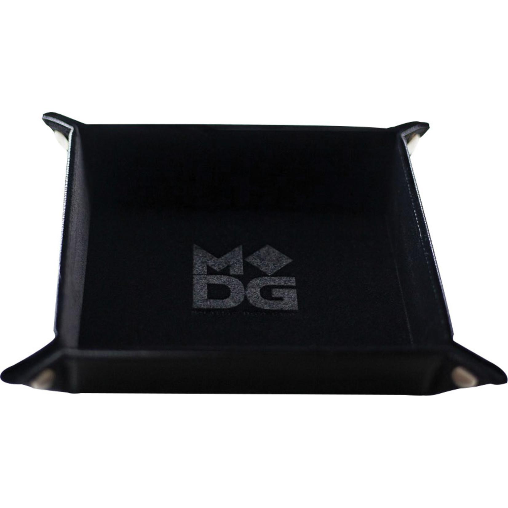 Black Velvet Folding Dice Tray with Leather Backing