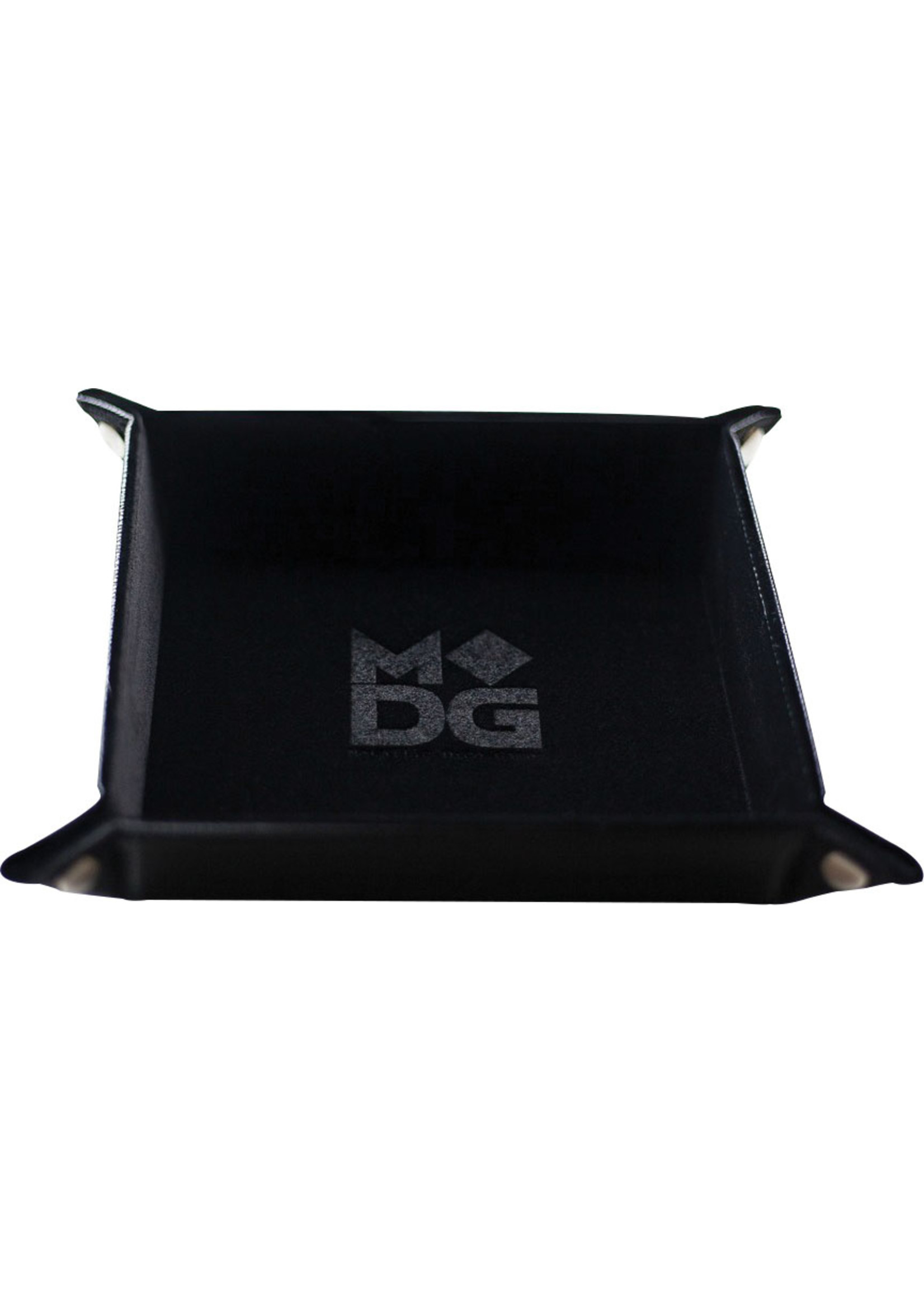 Black Velvet Folding Dice Tray with Leather Backing