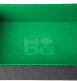 Green Velvet Folding Dice Tray with Leather Backing