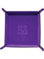 Purple Velvet Folding Dice Tray with Leather Backing