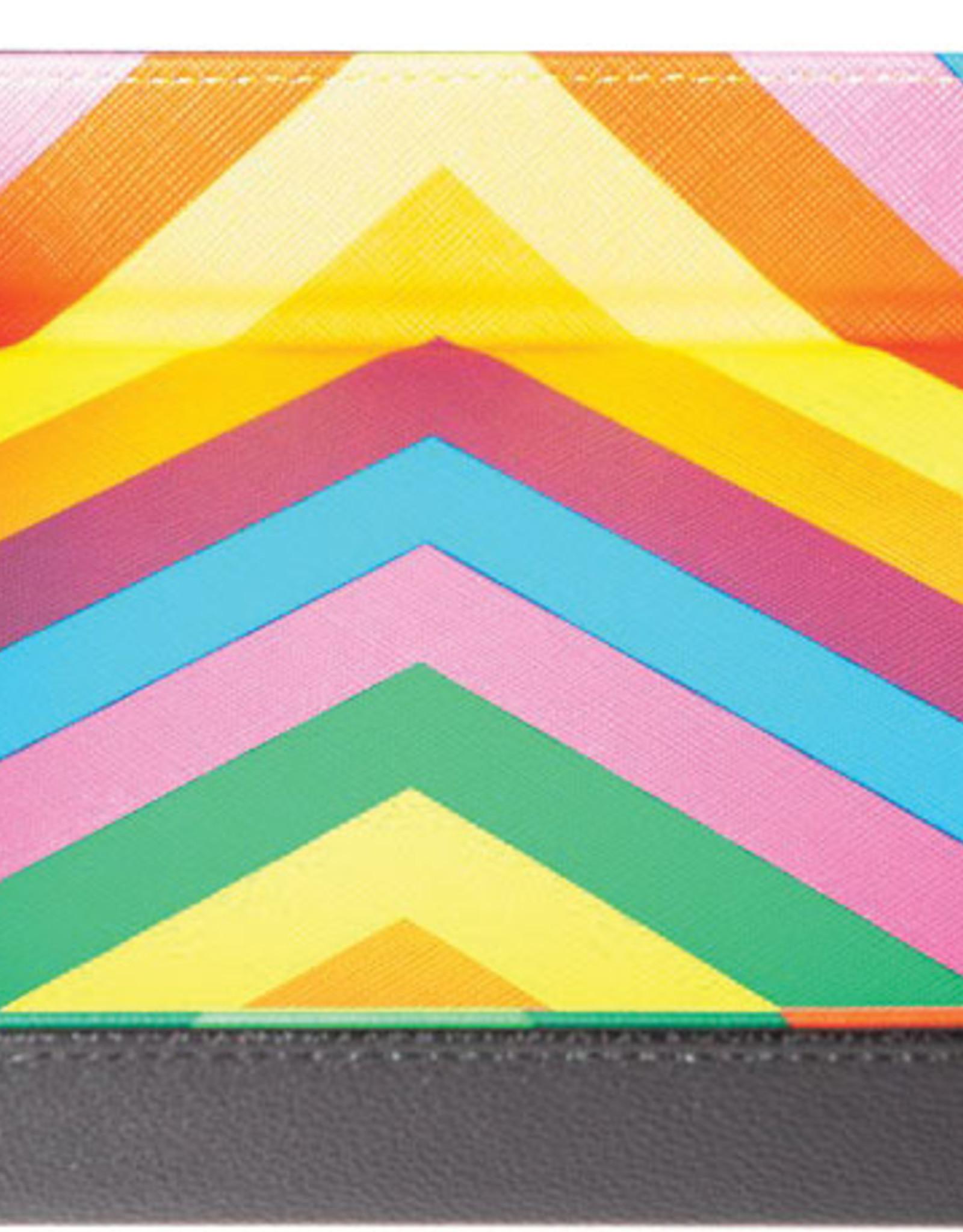 Rainbow Velvet Folding Dice Tray with Leather Backing