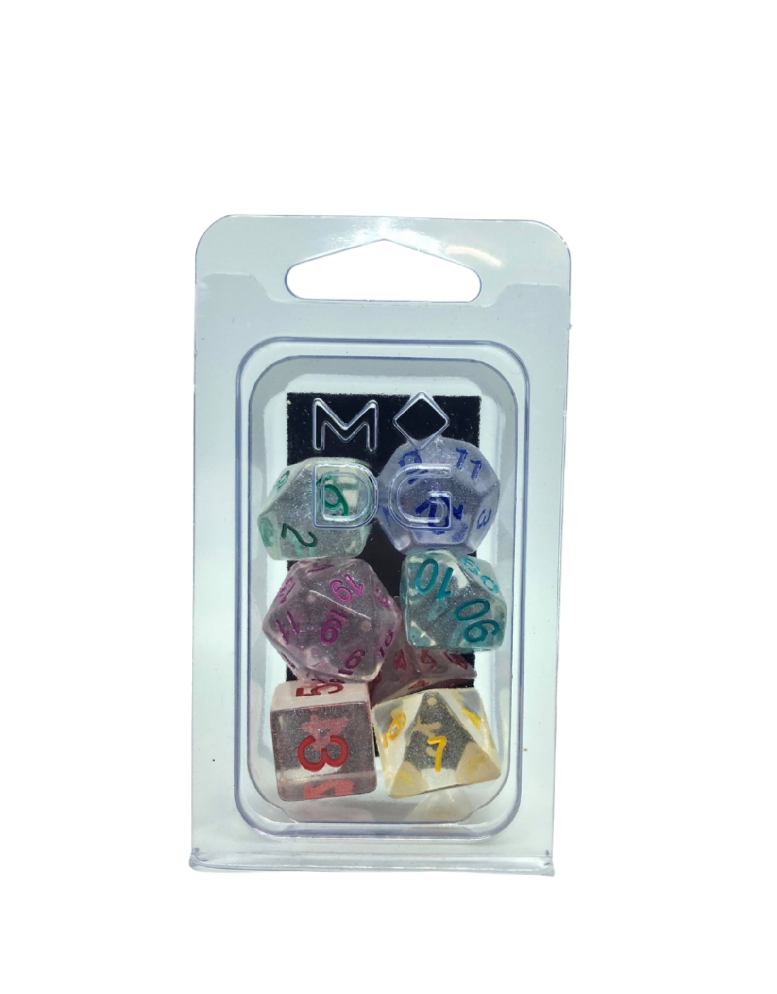 Unicorn Resin Poly Dice Set: Rainbow Ice (7)