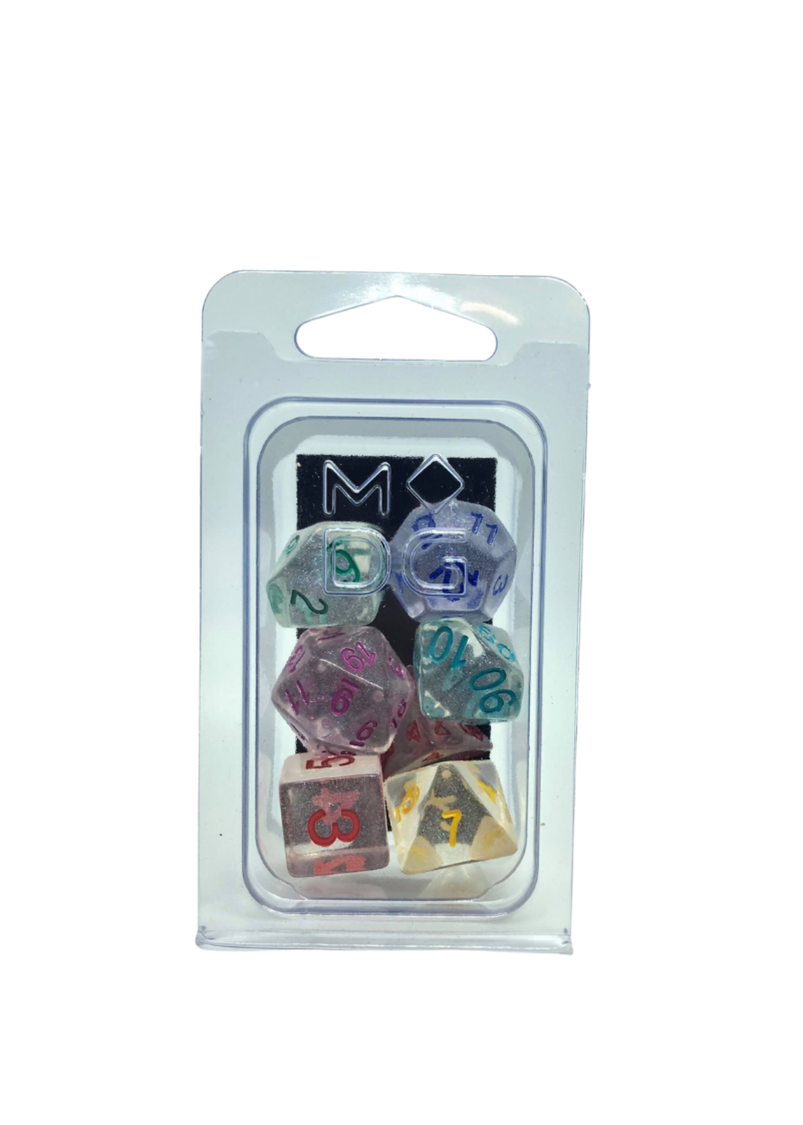 Unicorn Resin Poly Dice Set: Rainbow Ice (7)