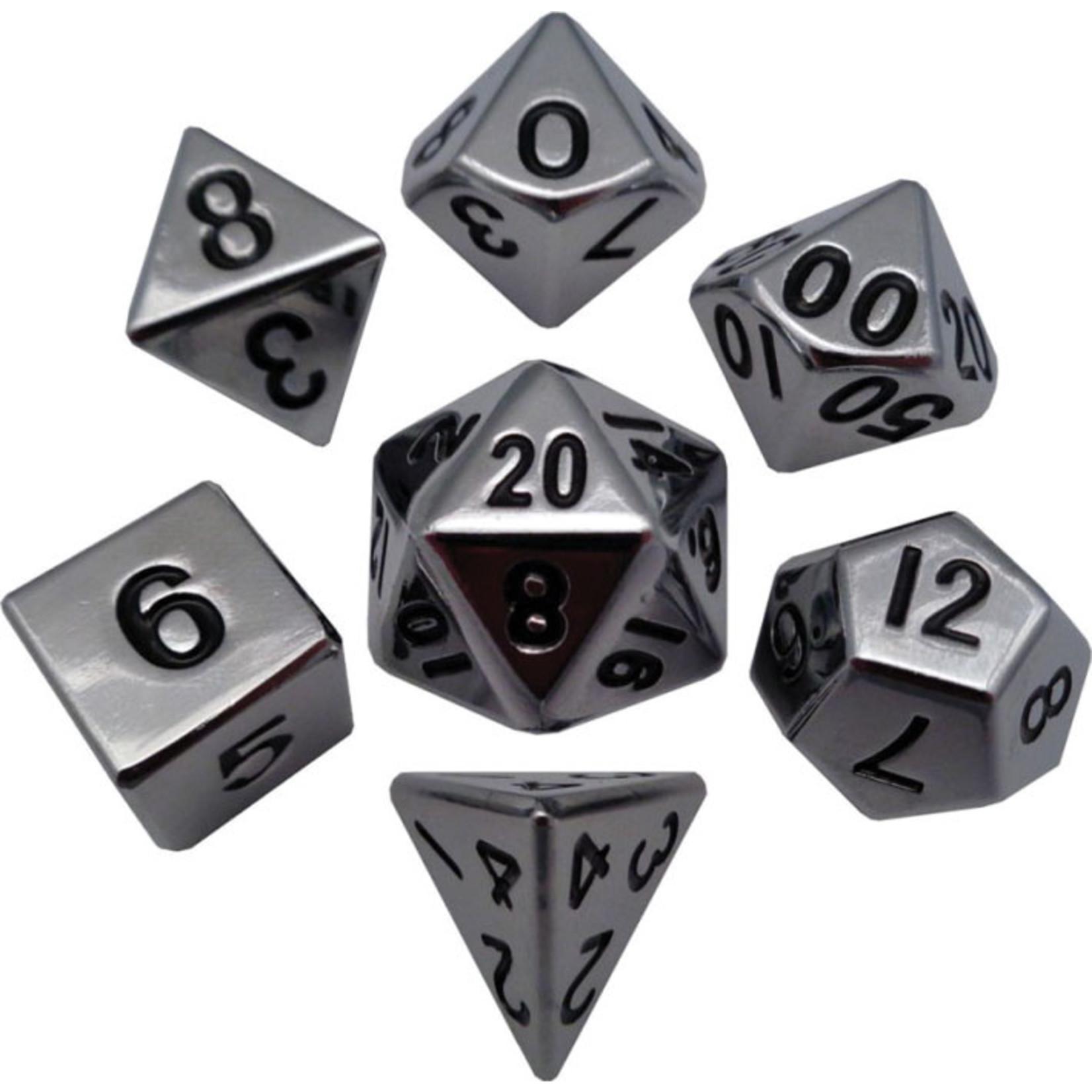16mm Silver Polyhedral Metal Dice Set
