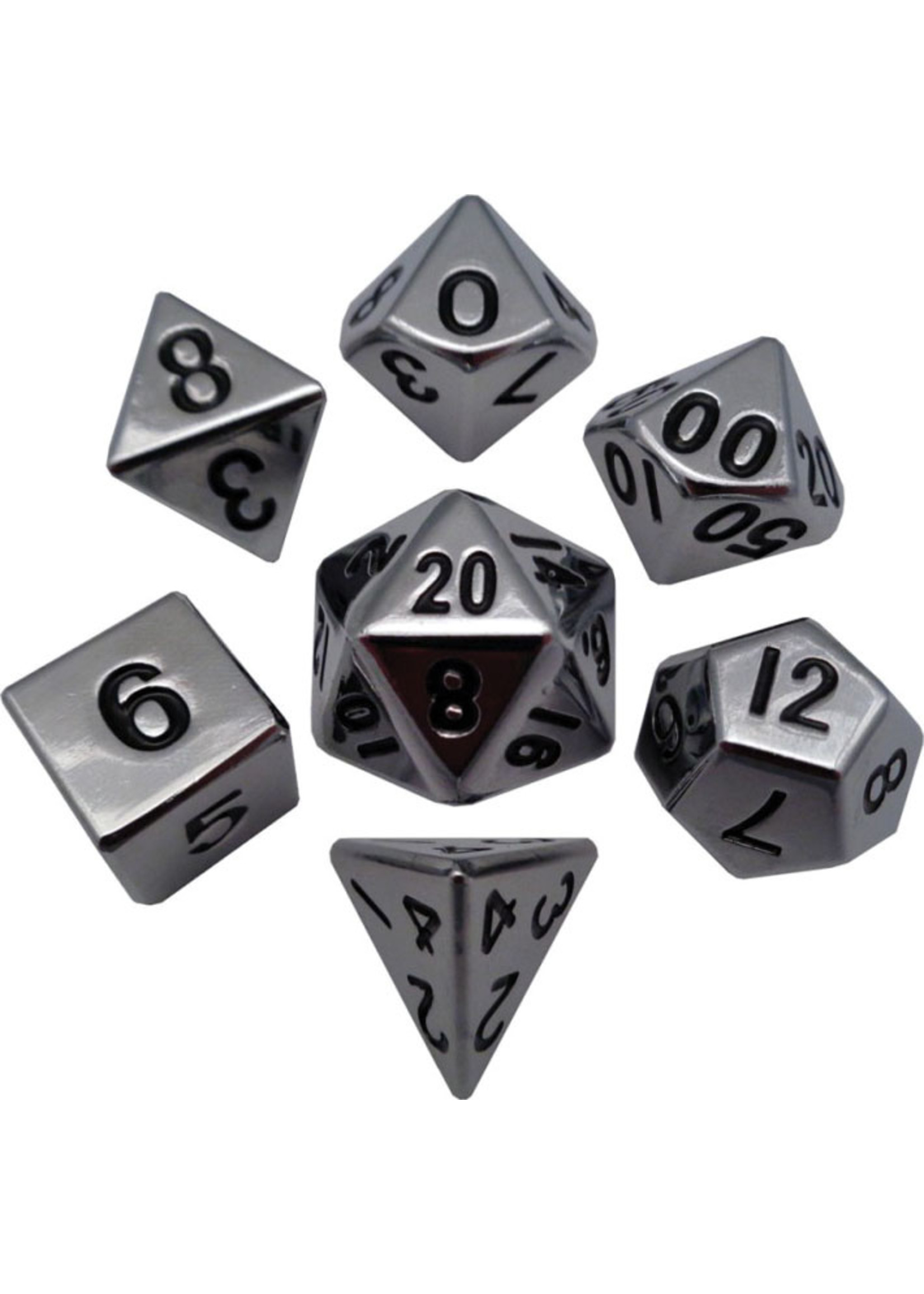 16mm Silver Polyhedral Metal Dice Set