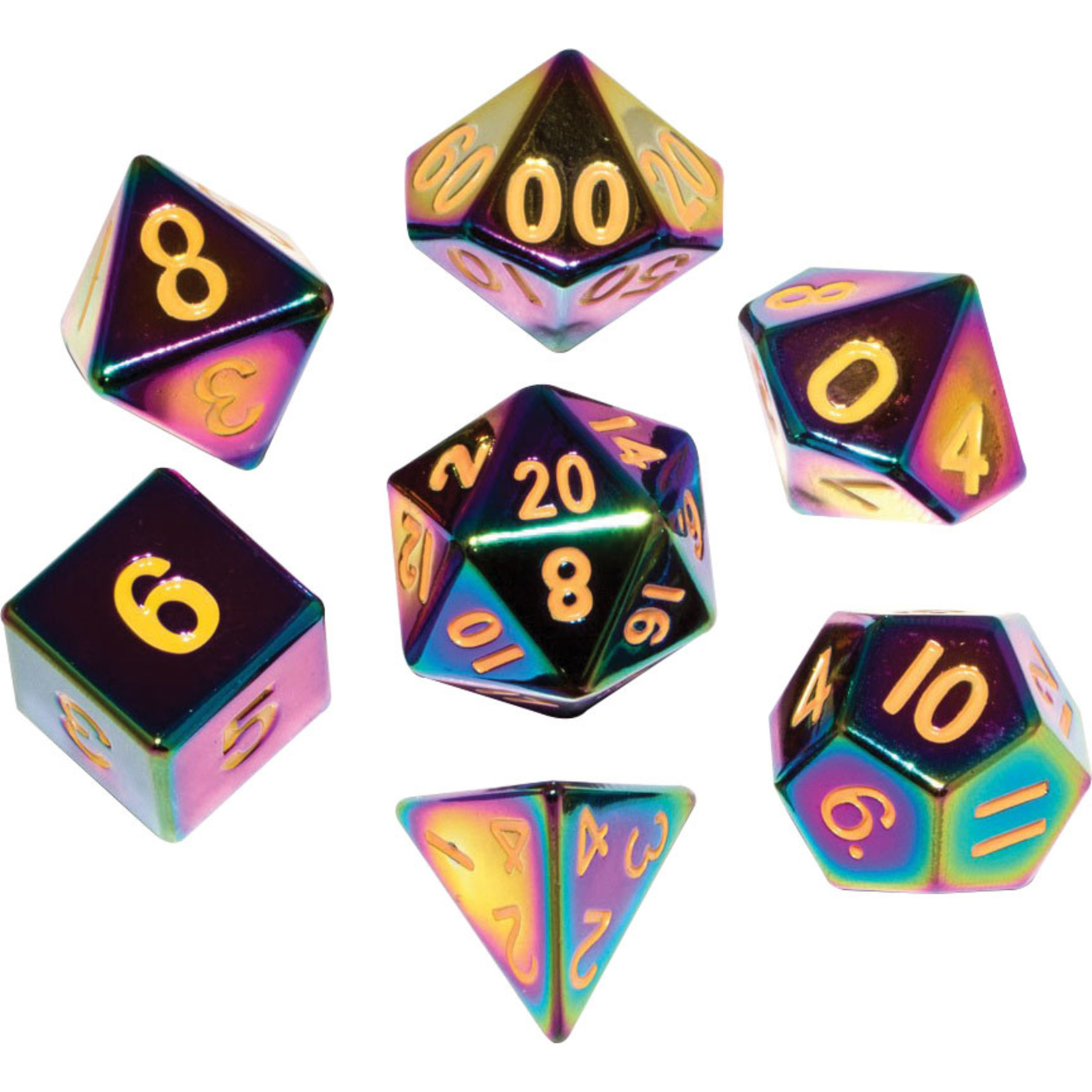16mm Flame Torched Rainbow Metal Polyhedral Dice Set