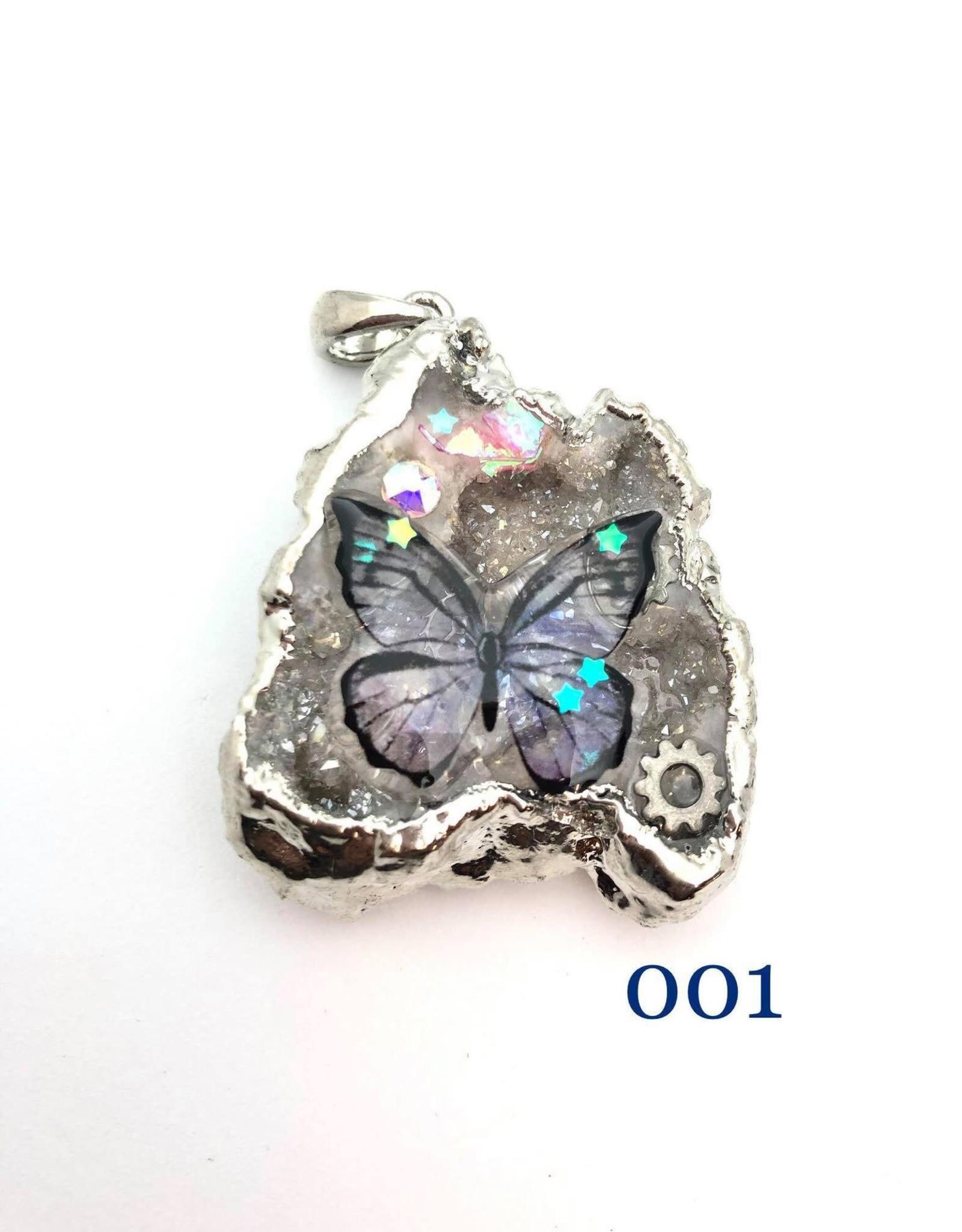 Butterfly Druzy Pendants