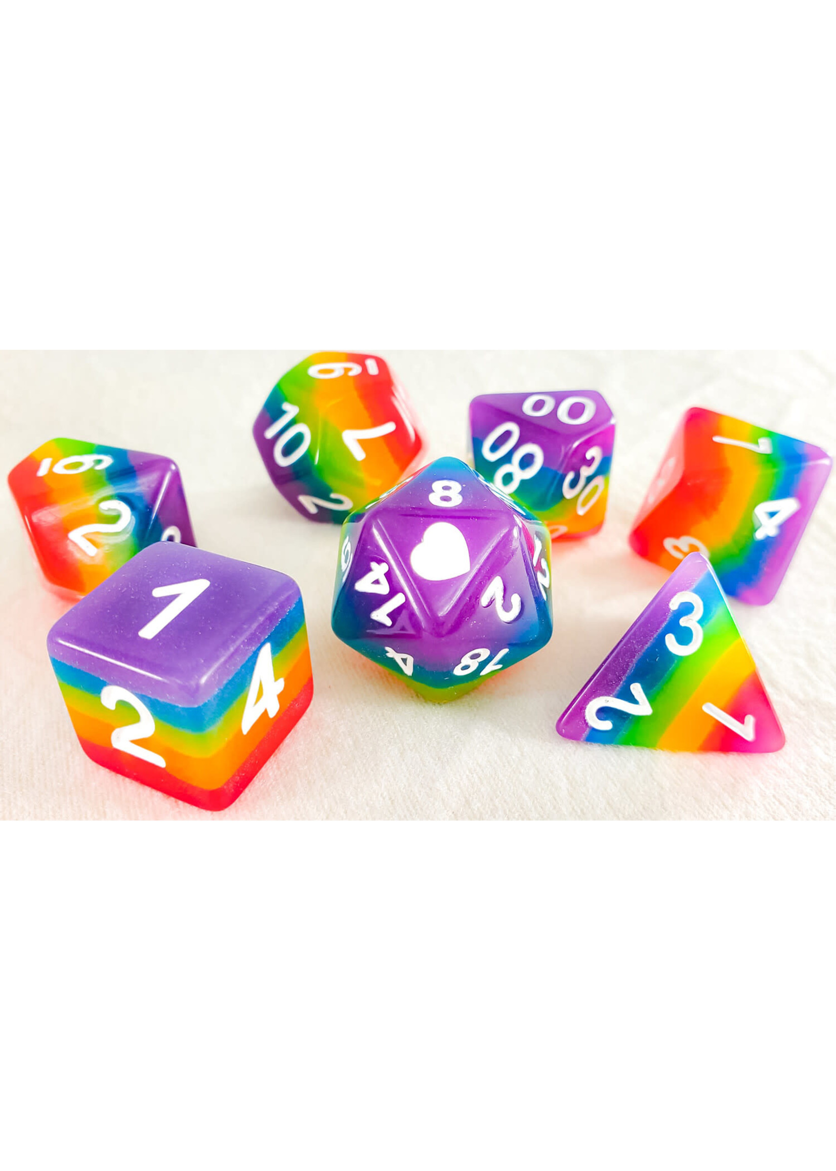 Glow in the Dark Neon Rainbow Pride Dice Set