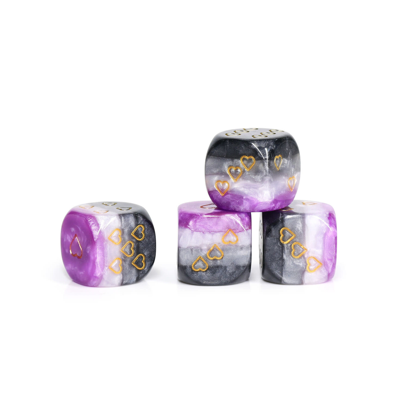 Opaque Pack of 6 Asexual Pride 16mm D6 Heart Dice
