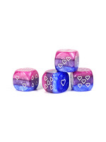 Opaque Pack of 6 Bisexual Pride 16mm D6 Heart Dice