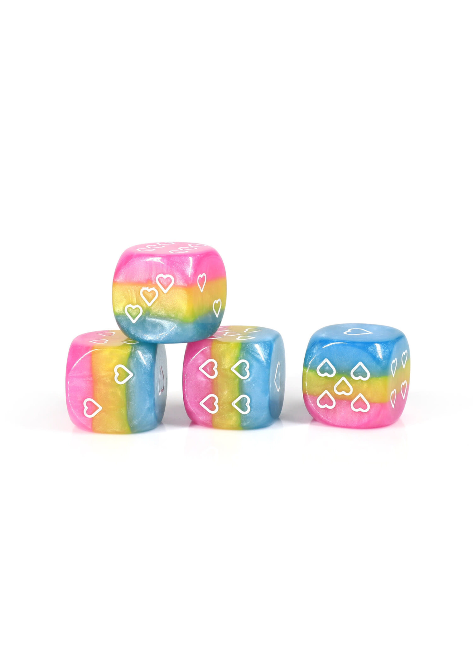 Opaque Pack of 6 Pansexual Pride 16mm D6 Heart Dice
