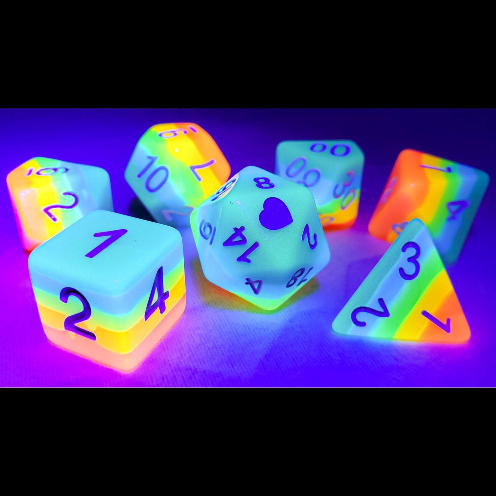Glow in the Dark Neon Rainbow Pride Dice Set