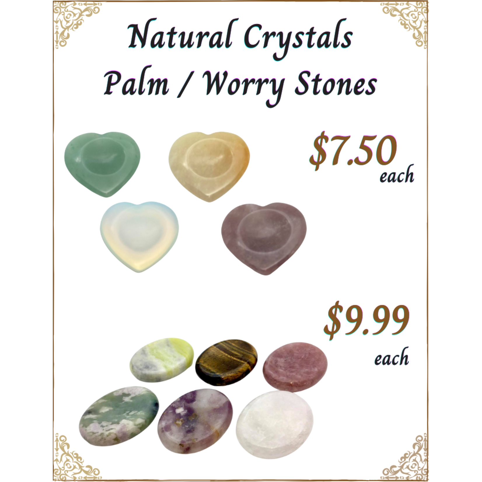 Natural Crystals Palm Worry Stones