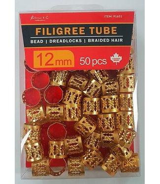 KIM & C Filigree Tube Gold (12mm)