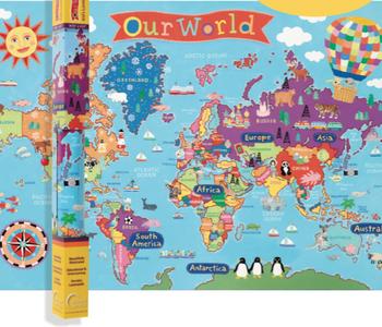 """Kids World Wall Map 24x36"""""""