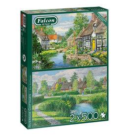 Falcon Riverside Cottages 2 x 500pc Puzzles