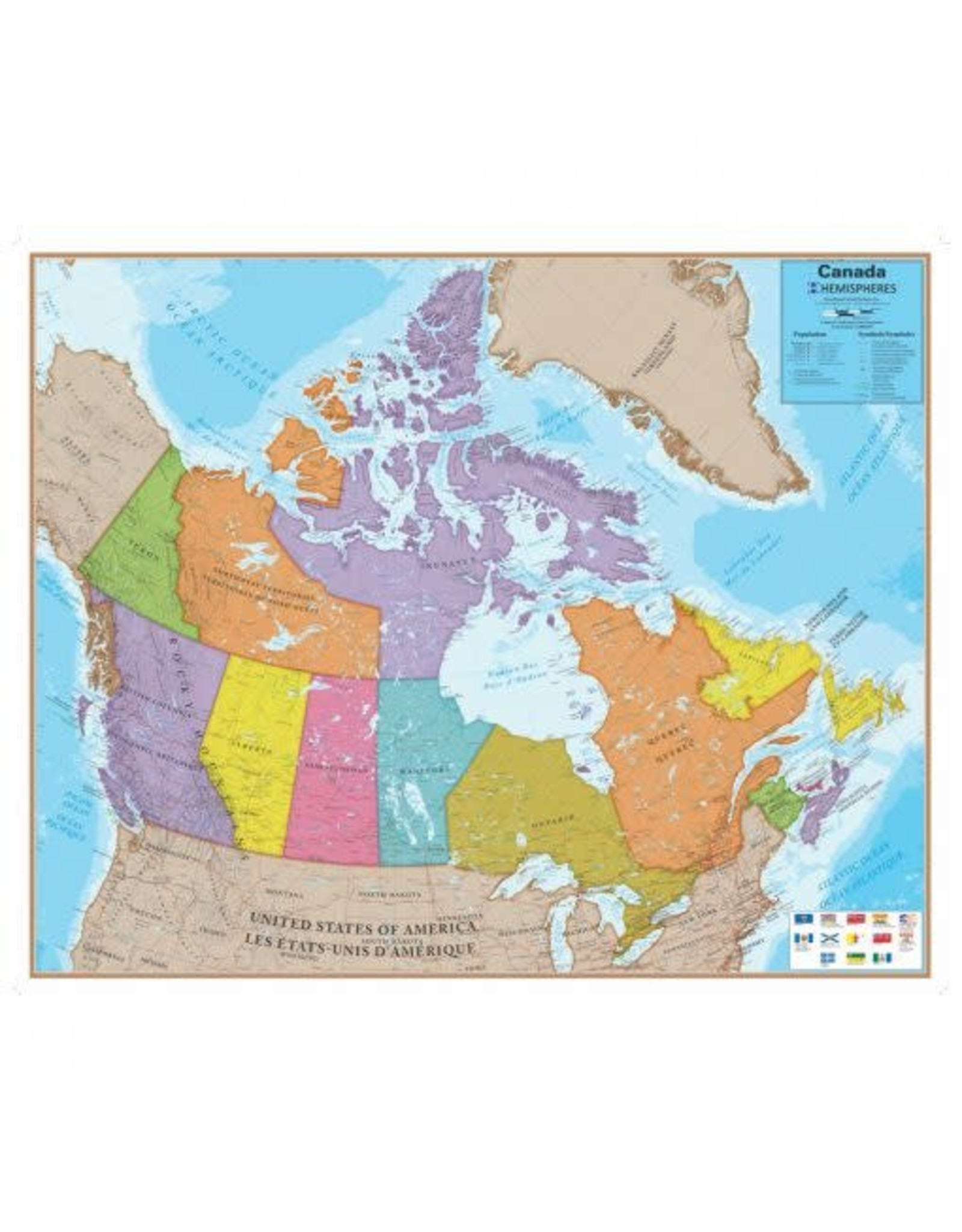 Waypoint Geographic Hemispheres Canada Map bilingual