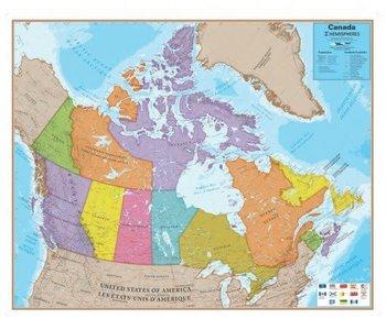 Hemispheres Canada Map bilingual