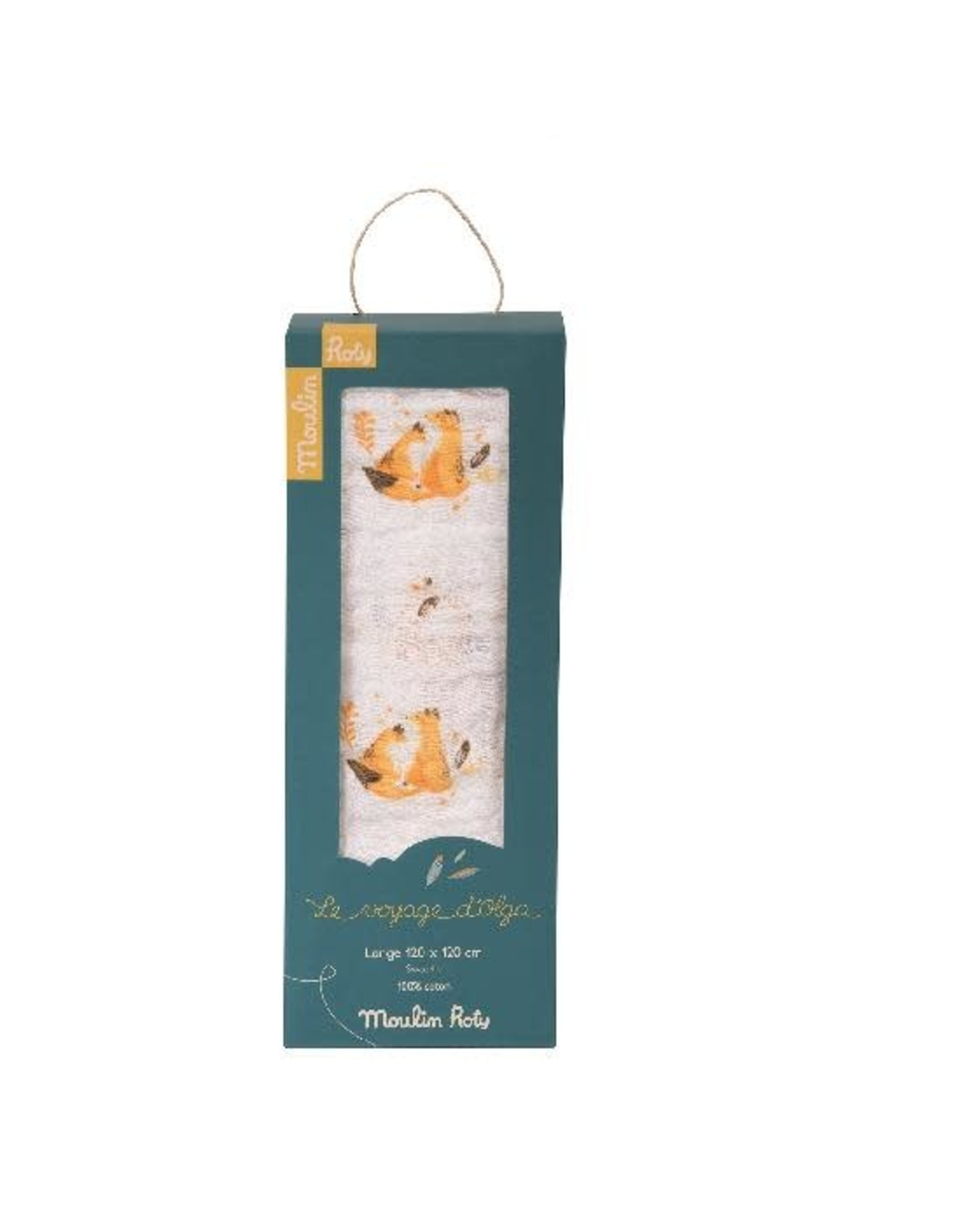 Moulin Roty Le Voyage d'Olga Fox Muslin Swaddle Blanket 120x120cm